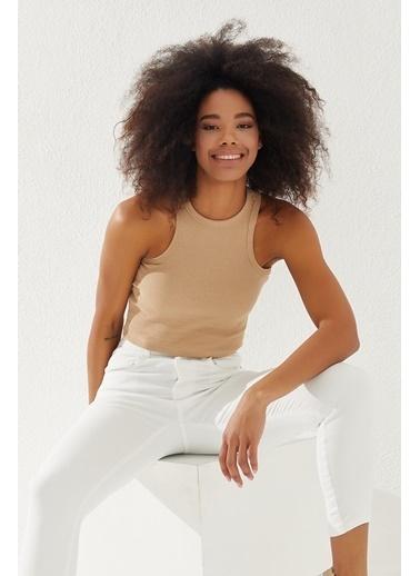 Reyon REYON Kadın Kalın Askılı Crop Bluz Taş Taş
